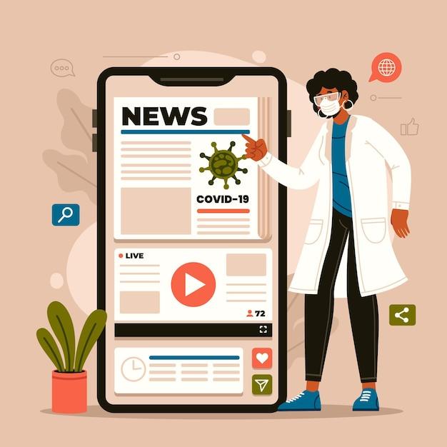 Koncepcja Aktualizacji Koronawirusa Darmowych Wektorów