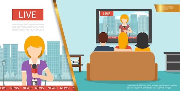 Koncepcja Aktualności Płaski Telewizor Darmowych Wektorów