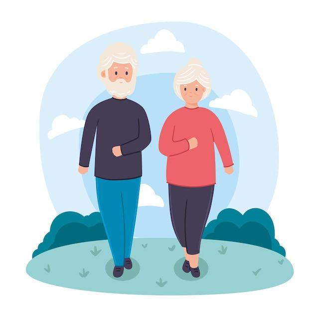Koncepcja Aktywnych Osób Starszych Premium Wektorów