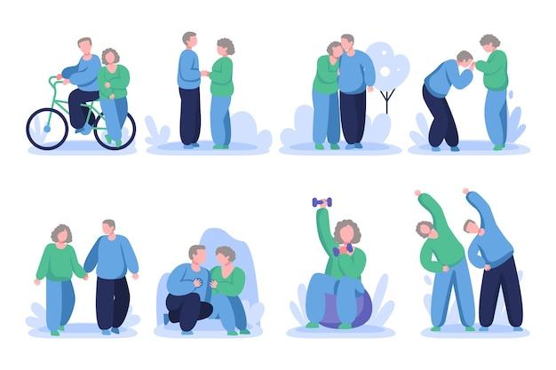 Koncepcja Aktywnych Osób Starszych Darmowych Wektorów