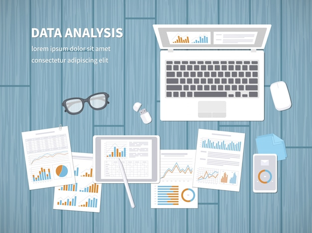 Koncepcja Analizy Danych. Audyt Finansowy, Analityka Seo, Statystyki, Strategiczne, Raport, Zarządzanie. Premium Wektorów
