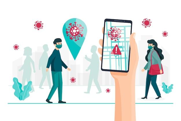 Koncepcja Aplikacji Do śledzenia Lokalizacji Koronawirusa Darmowych Wektorów