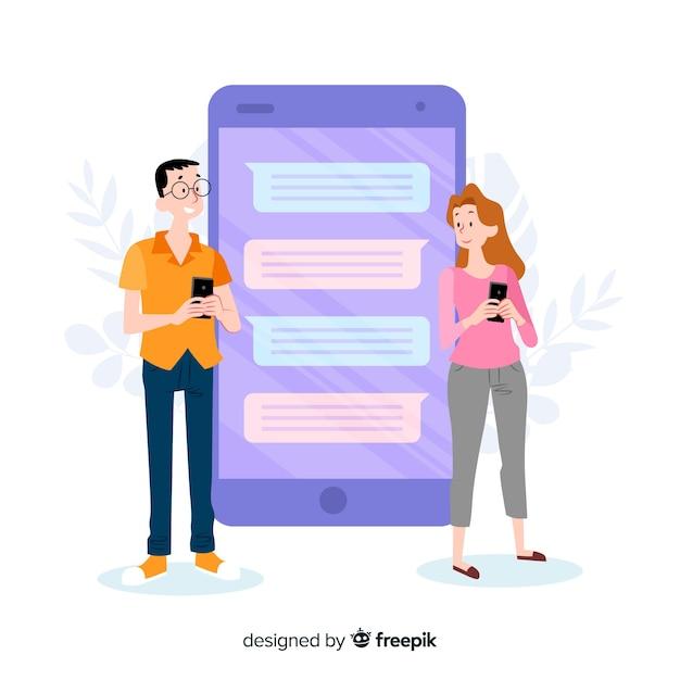 Koncepcja aplikacji randkowej z czatem Darmowych Wektorów