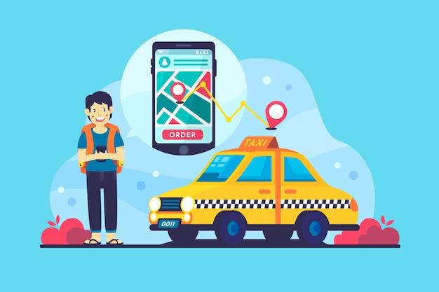 Koncepcja Aplikacji Taxi Darmowych Wektorów