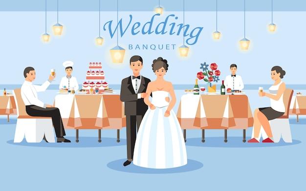 Koncepcja bankiet weselny Premium Wektorów