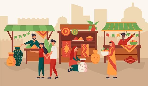 Koncepcja Bazaru Arabskiego Darmowych Wektorów