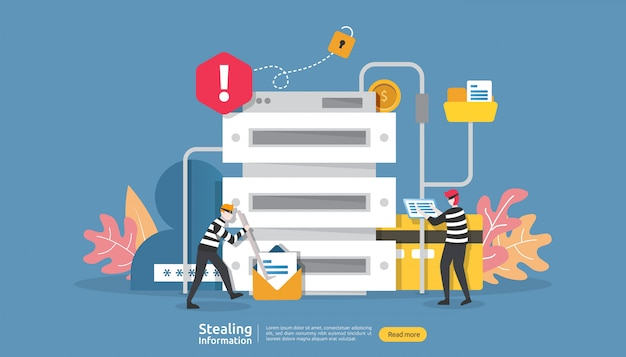 Koncepcja Bezpieczeństwa Internetu Z Charakterem Ludzi. Atak Phishingowy Na Hasło. Kradzież Danych Osobowych Premium Wektorów