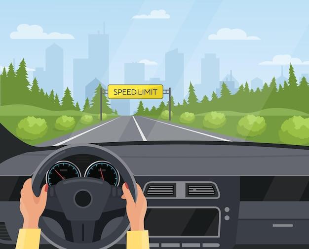 Koncepcja Bezpieczeństwa Jazdy Samochodem Deska Rozdzielcza Wewnątrz Tła Widoku Wnętrza Samochodu Premium Wektorów