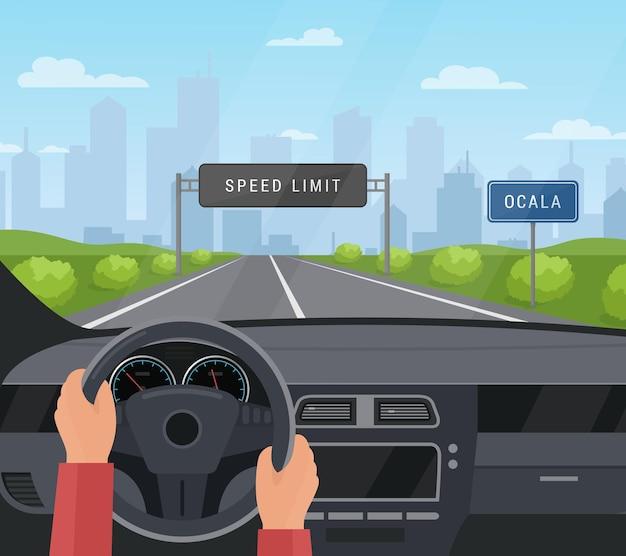 Koncepcja Bezpieczeństwa Jazdy Samochodem. Jechać Samochodem Na Asfaltowej Drodze Z Ograniczeniem Prędkości, Bezpieczny Znak Na Autostradzie Premium Wektorów
