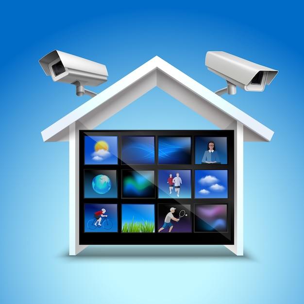 Koncepcja bezpieczeństwa wideo Darmowych Wektorów