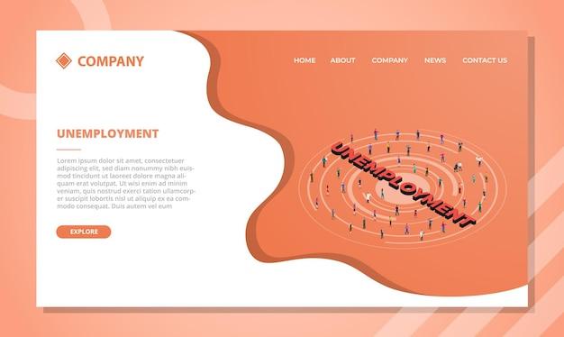 Koncepcja Bezrobocia Dla Szablonu Strony Internetowej Lub Projektu Strony Głównej Docelowej W Stylu Izometrycznym Darmowych Wektorów