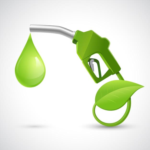 Koncepcja bio zielony paliwa z tankowania dyszy liść i upuść ilustracja koncepcja energii naturalnej Darmowych Wektorów
