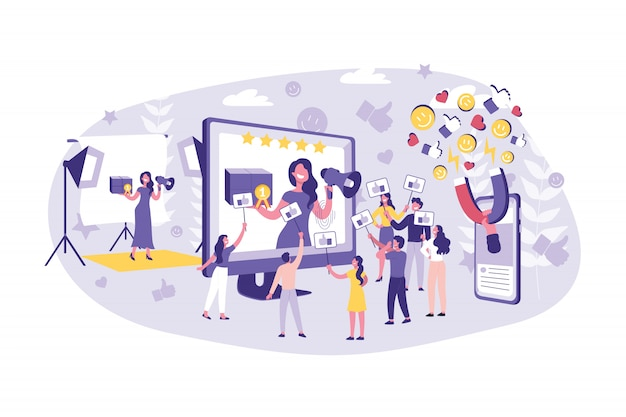 Koncepcja Biznesowa Blogowanie, Vlog, Reklama, Marketing. Praca Zespołowa Biznesmeni I Gwiazdorstwo Zaawansowanie Treści Razem Premium Wektorów