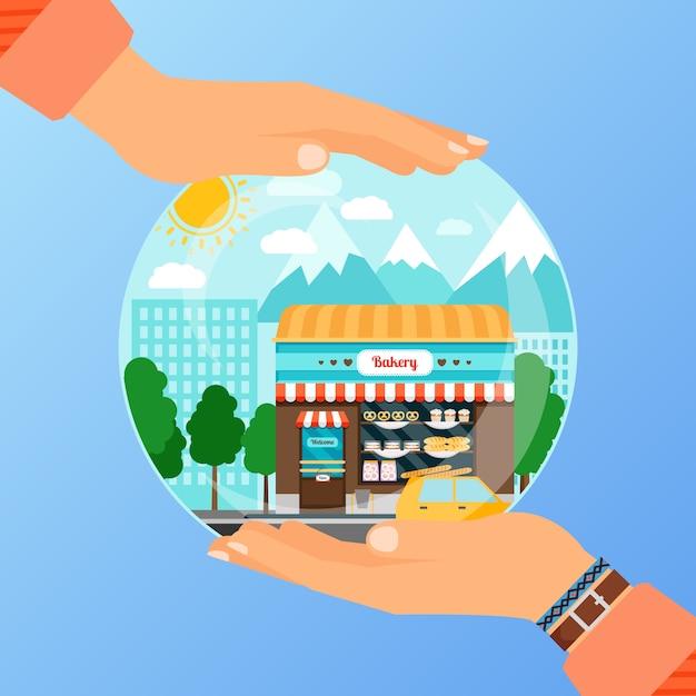 Koncepcja Biznesowa Do Otwarcia Sklepu Piekarni Premium Wektorów