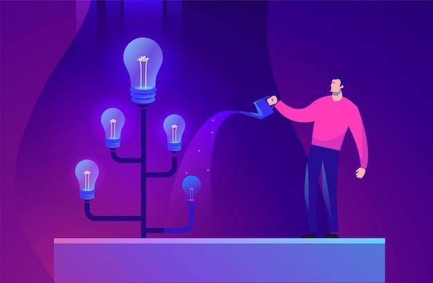 Koncepcja Biznesowa Ilustracja Pomysł Człowieka I Drzewa Premium Wektorów