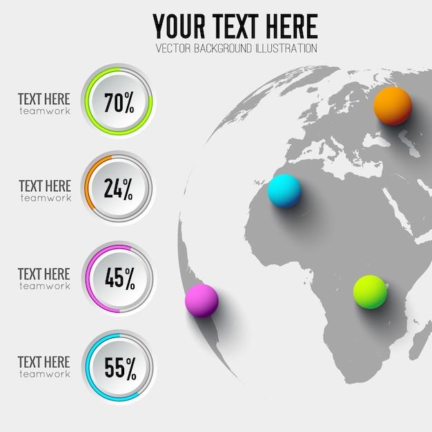Koncepcja Biznesowa Infografika Sieci Web Z Procentem Okrągłych Przycisków I Kolorowe Kulki Na świecie Darmowych Wektorów