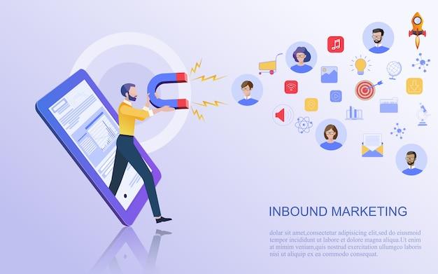 Koncepcja biznesowa marketingu cyfrowego. Premium Wektorów