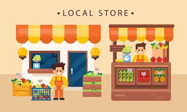 Koncepcja Biznesu Detalicznego, Lokalny Produkt Owocowy Ze Sklepikarzem, Front Sklepu. Ilustracja Wektorowa Płaski Premium Wektorów