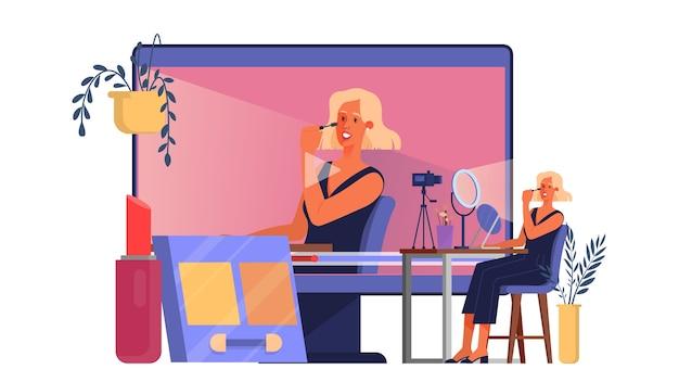 Koncepcja Blogera Wideo. Gwiazda Internetowa W Sieci Społecznościowej. Popularna Blogerka Robi Makijaż. Ilustracja Premium Wektorów