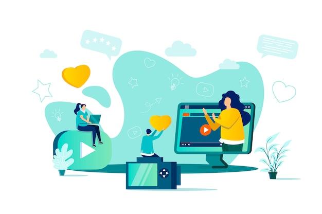 Koncepcja Blogerów W Stylu Z Postaciami Ludzi W Sytuacji Premium Wektorów