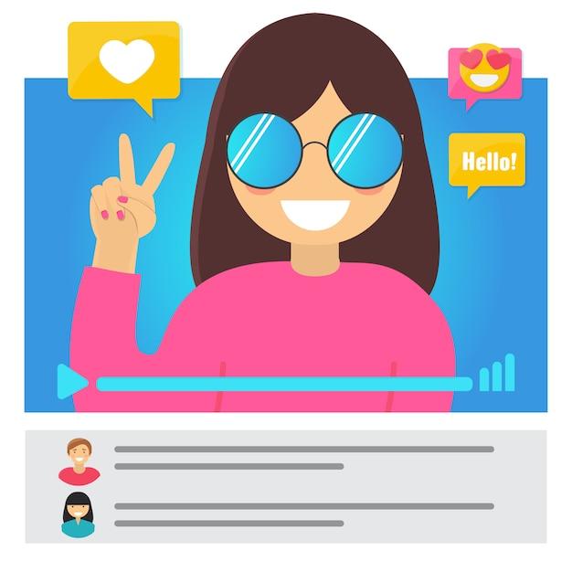 Koncepcja Blogger Wideo Dziewczyna Premium Wektorów