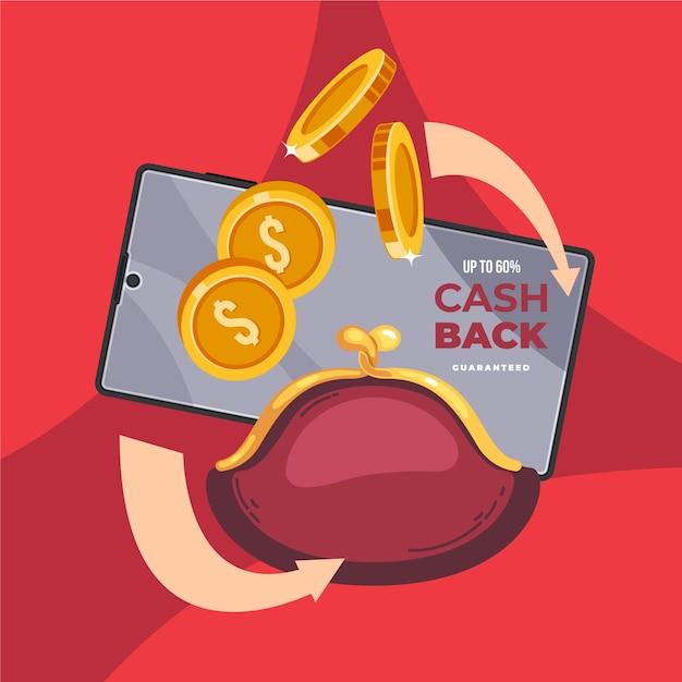 Koncepcja Cashback Z Karty Kredytowej I Torebki Darmowych Wektorów