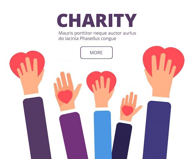 Koncepcja Charytatywna I Darowizny. Wolontariuszem Trzymając Się Za Ręce Czerwone Serca. Plakat Wektor Hojności, Opieki Zdrowotnej I Pomocy Humanitarnej Premium Wektorów