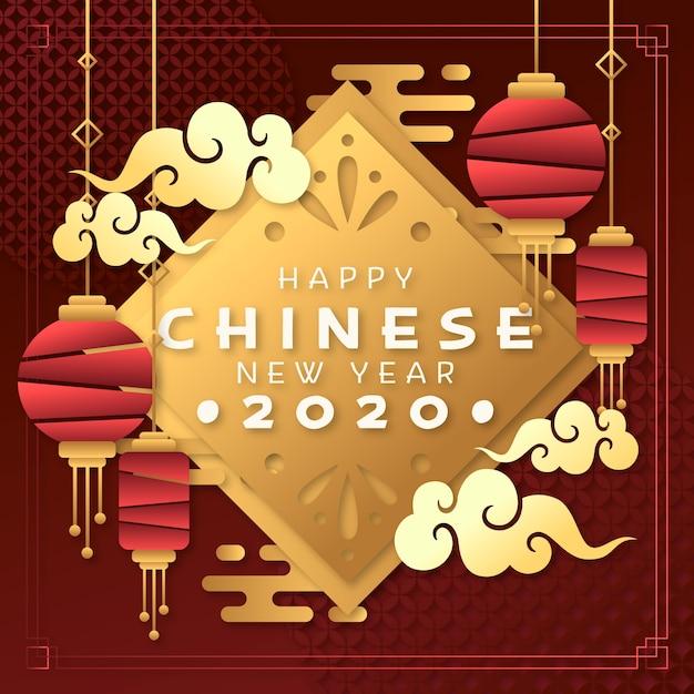 Koncepcja Chińskiego Nowego Roku W Stylu Papieru Darmowych Wektorów