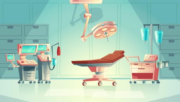 Koncepcja Chirurgii Medycznej Pokoju, Sprzęt Szpitalny Kreskówka. System Wspomagania życia Medycyny Darmowych Wektorów
