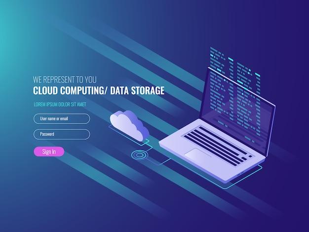 Koncepcja cloud computing, otwarty laptop z ikoną chmurki i kod programu na piargu Darmowych Wektorów