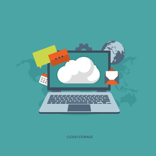 Koncepcja cloud storage Darmowych Wektorów