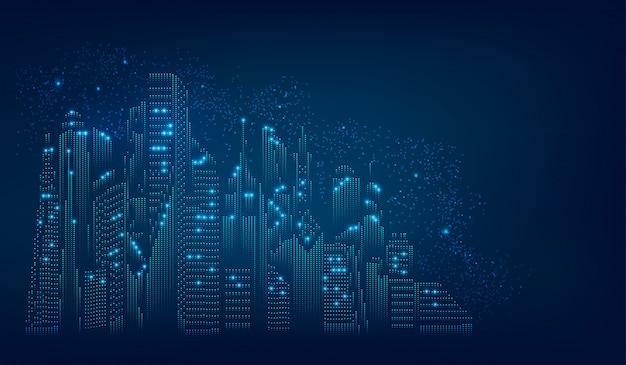 Koncepcja cyfrowego miasta Premium Wektorów