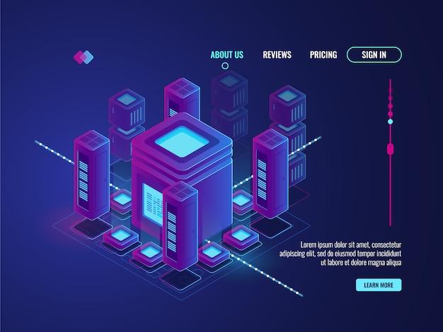 Koncepcja cyfrowego smart city, duża transmisja i przetwarzanie danych, magazyn centrum danych Darmowych Wektorów