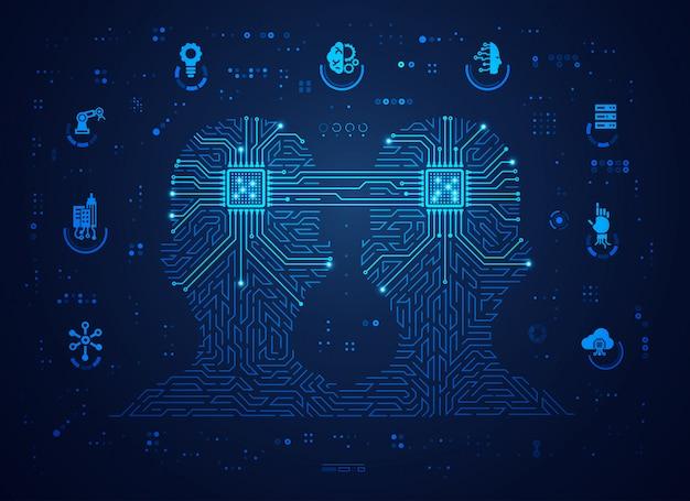 Koncepcja Cyfrowego Uczenia Się Bliźniaków Lub Maszyn Premium Wektorów