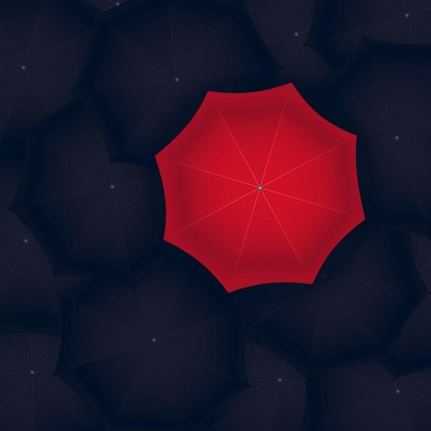 Koncepcja czerwonym parasolem stojący na czarny Darmowych Wektorów