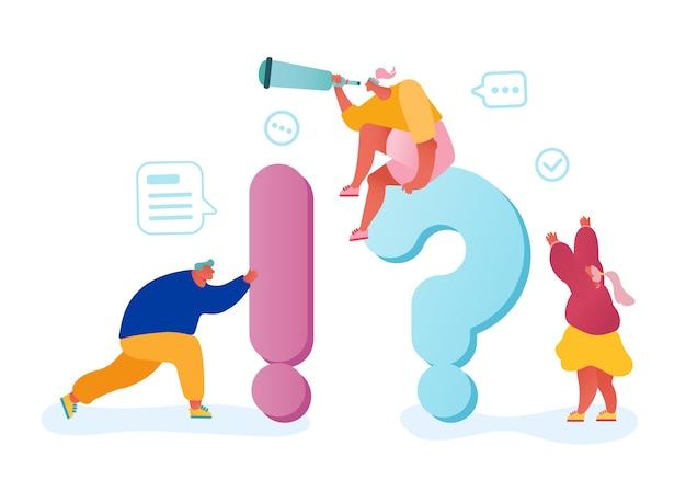 Koncepcja Często Zadawanych Pytań. Ludzie Biznesu Wokół Ogromnych Pytań I Wykrzykników Szukających Informacji I Odpowiedzi. Premium Wektorów