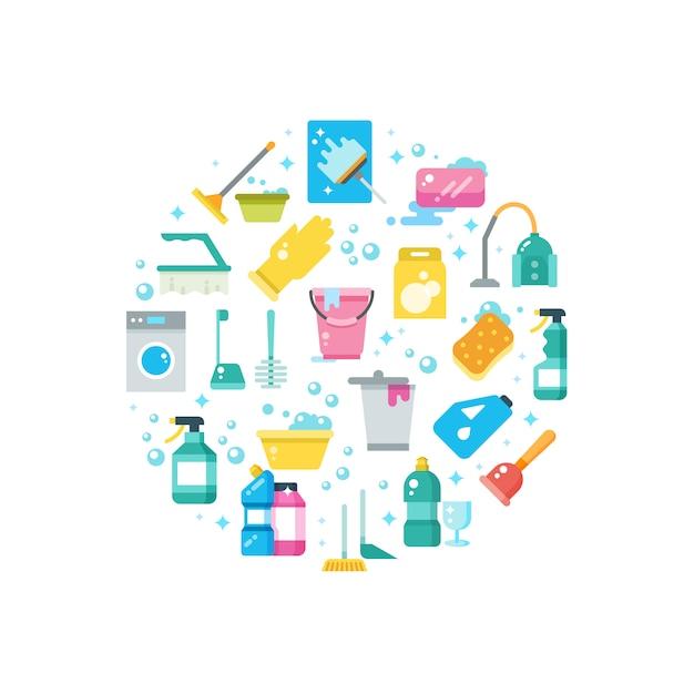 Koncepcja czysty dom z narzędzi do czyszczenia i mycia wektorowe ikony Premium Wektorów
