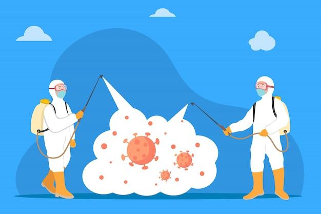 Koncepcja Dezynfekcji Wirusów Z Udziałem Dwóch Mężczyzn W Białym Kombinezonie Przeciwmgielnym Spryskaj środek Czyszczący Dezynfekujący środek Chemiczny W Celu Dezynfekcji Patogenu Wirusa Covid-19 Premium Wektorów
