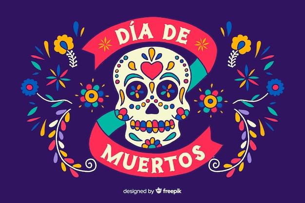 Koncepcja día de muertos z ręcznie rysowane tła Darmowych Wektorów