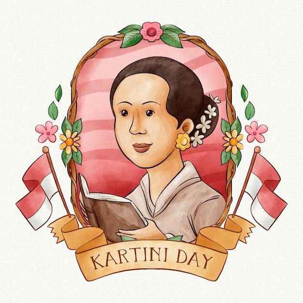 Koncepcja Dnia Kartini Darmowych Wektorów