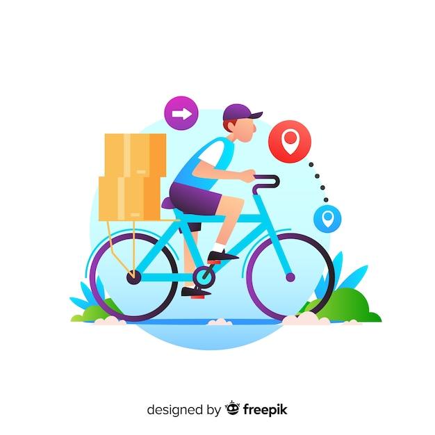Koncepcja dostawy rowerów z pakietami Darmowych Wektorów