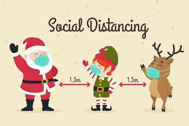 Koncepcja Dystansowania Społecznego Z Postaciami Bożego Narodzenia Premium Wektorów