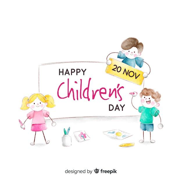 Koncepcja dzień dziecka w akwareli Darmowych Wektorów