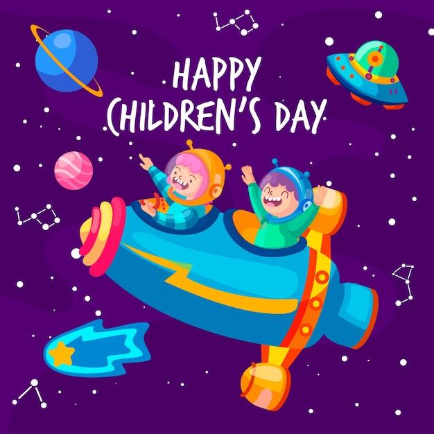 Koncepcja dzień dziecka w płaskiej konstrukcji Darmowych Wektorów