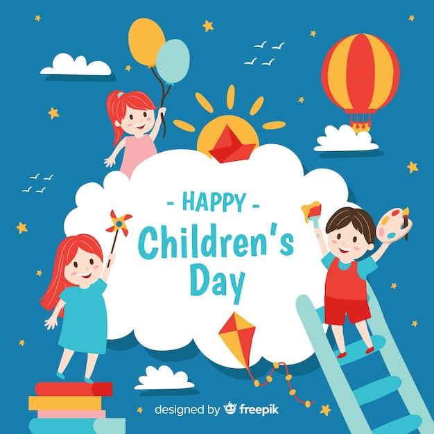 Koncepcja Dzień Dziecka W Ręku Wyciągnąć Premium Wektorów