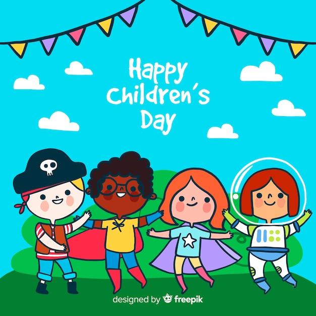 Koncepcja Dzień Dziecka W Ręku Wyciągnąć Darmowych Wektorów