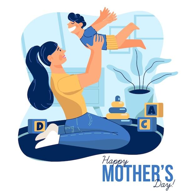 Koncepcja Dzień Matki W Płaskiej Konstrukcji Darmowych Wektorów