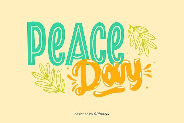 Koncepcja dzień pokoju z napisem Darmowych Wektorów