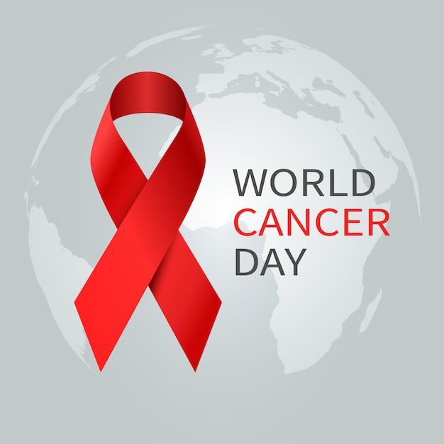 Koncepcja Dzień Raka. światowa Wstążka świadomości Raka. Prewencyjny Sztandar Opieki Zdrowotnej Premium Wektorów