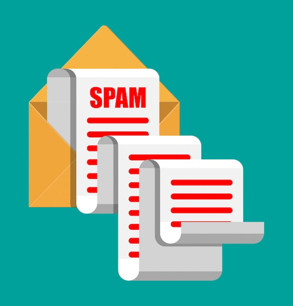 Koncepcja E-maili I Spamu W żółtym Papierze. Długie E-maile. Hakowanie Skrzynek E-mail, Ostrzeżenia Przed Spamem, Wirusy I Złośliwe Oprogramowanie, Bezpieczeństwo Sieci. Ilustracja Wektorowa W Stylu Płaski Premium Wektorów